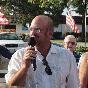 Councilmember Scott Sherman speaks at the celebration. (Photo by Mary Haas)