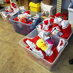Christmas stockings for pets await delivery to veterinarians' offices after being assembled at PAWS San Diego. (Photo by B.J. Coleman)
