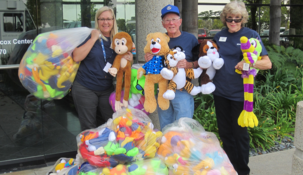 Volunteers with the Kiwanis Club of Grantville-Allied Gardens collect stuffed animals for local foster children. (Courtesy Mary Haass)