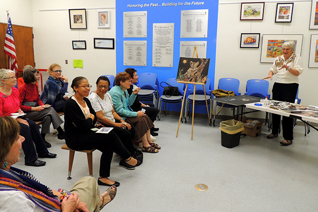 Hazel Ross instructs her Safari Art Circle class in the art of wildlife collages. (Photo by Cynthia Robertson)