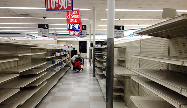 Albertsons sells their shelves clean as the store prepares to close. (Photo by Jeremy Ogul)