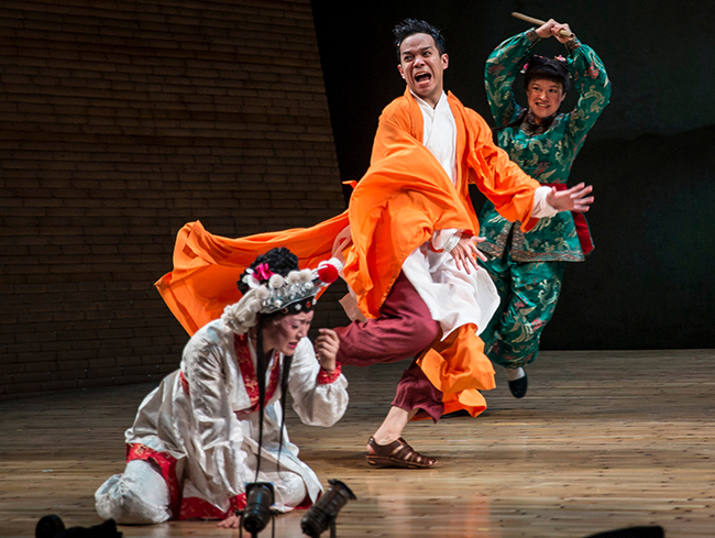 """(l to r) Amy Kim Waschke, Jon Norman Schneider, and Tanya Thai McBride in The Goodman Theatre production of """"The White Snake"""" (Photo by Liz Lauren)"""