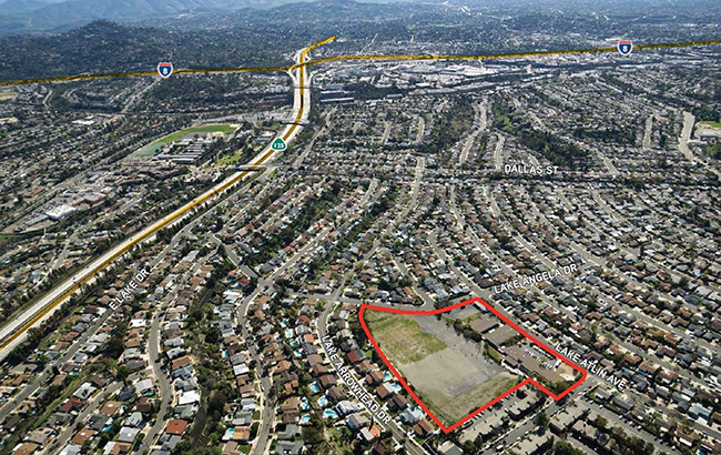 Aerial renderings show the recently-sold school site in San Carlos, which may eventually be redeveloped into single-family homes. (Courtesy Colliers International / San Diego Unified School District)