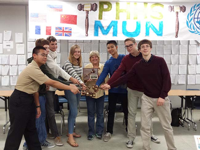 Students from the Model United Nations at PHHS pose for a photo. (Courtesy PHHS)