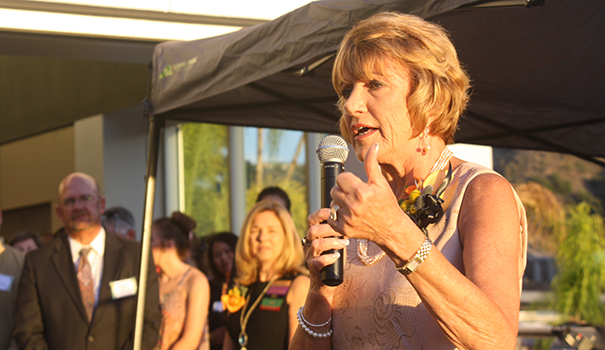 Former JA of San Diego County CEO Joanne Pastula speaks at the Finance Park opening on Oct. 1. (Photo by Jeff Clemetson)