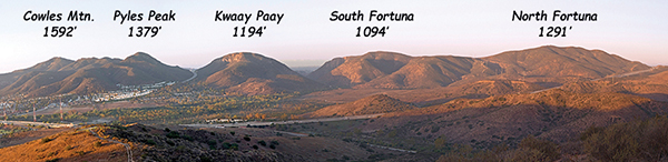 The five summits of the 5-Peak Challenge in MTRP (Photo by Dolwain Green, courtesy of MTRPF)