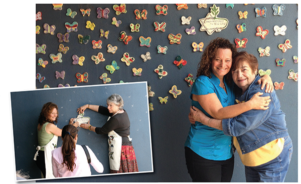 The Butterfly Project founders Cheryl Rattner Price and Jan Landau affix the plaque for the Holocaust Survivor Wall of Butterflies at San Diego Jewish Academy; Rattner Price with Terezin Concentration Camp survivor Ela Weissberger. (Photos courtesy of Cheryl Rattner Price)