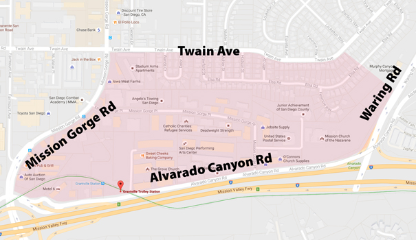 The SANDAG-funded Alvarado Creek Enhancement Project includes a study of flooding in the areas around the Grantville Trolley Station. (Graphic by Todd Kammer)