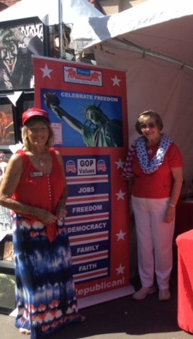 Charlotte James (left) and Gloria Harpenaw work the Navajo Canyon Republican Women Federated booth at this year's La Mesa Oktoberfest (Courtesy of NCRWF)