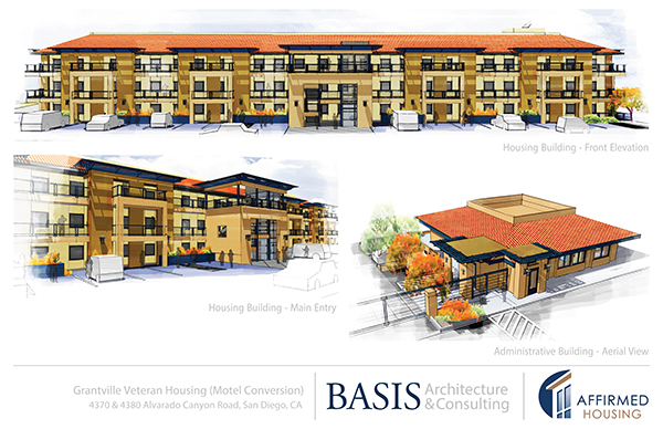 The current design plans for the proposed veterans housing in the Motel 6 building include a facelift, but no major structural changes. (Courtesy of Affirmed Housing)