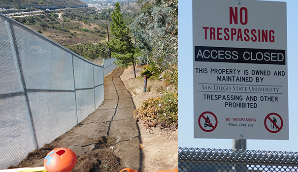 "A fence has been built and ""No Trespassing"" signs posted along the access points to Adobe Falls. (Photo by Doug Curlee)"