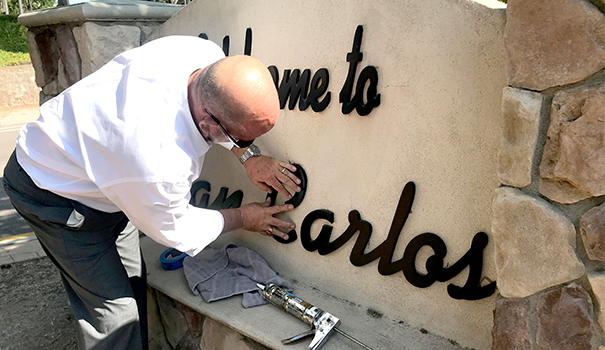 San Carlos welcome sign repaired